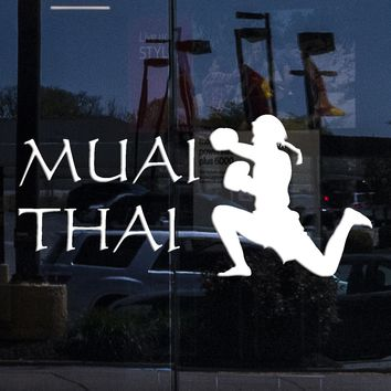 Window Sing Wall Sticker Muai Thai Martial Arts Mix Martial Arts Thailand Cool Decor Unique Gift (z1447w)