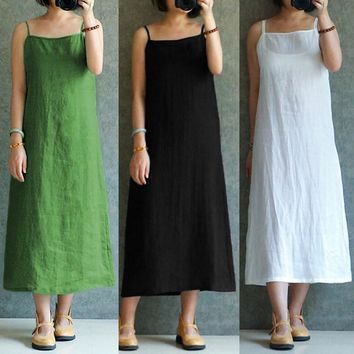 2018 Women's Casual Vintage Linen Midi Dress with Spaghetti Straps.   In Sizes From Medium to 3XL.   Colors: White, Black, Green, Rose and Purple.   ***FREE SHIPPING***
