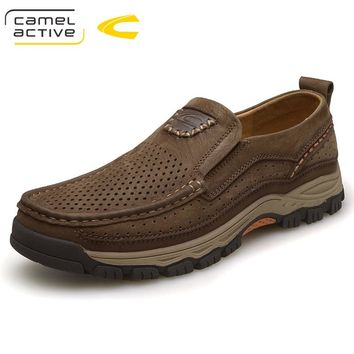 Camel Active Outdoor Casual Shoes Mens Genuine Leather Dress Shoes Autumn Spring Walking Shoes for Men Leather Oxfords Male Flat