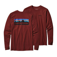 Patagonia Men's P-6 Long Sleeve Logo Cotton T-Shirt- Cinder Red