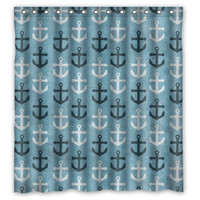 "66"" x 72"" Nautical Anchors Shower Curtain"
