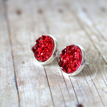 R U B Y - Ruby Red Chunky Sparkle, Faux Druzy, Silver Plated Stud Earrings, 12mm