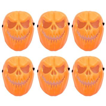 6 Pcs Halloween Pumpkin Funny Tricky Plastic Scary Skull Cosplay Face Mask Devil Masquerade Costume Party Carnival Theme Party