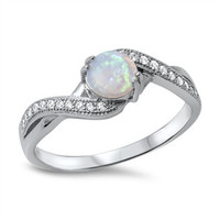 925 Sterling Silver CZ Simulated Diamond and Lab White Opal Round Center Infinity Flow Ring 7MM