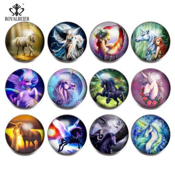 ROYALBEIER 12pcs/lot Snap On Charms for Bracelet Necklace 18mm Unicorn Design Glass Metal Snaps Buttons DIY Snap Charms Jewelry