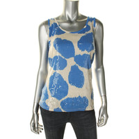 INC Womens Printed Sequined Tank Top