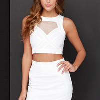 Mesh with the Best Ivory Two-Piece Dress