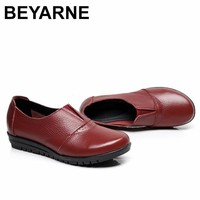BEYARNE  Genuine Leather Women's Casual Shoes Non Slip Flats Shoes Women Soft Mother Loafers Slip On Shoes