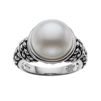 Freshwater by Honora Sterling Silver Freshwater Cultured Pearl Braided Ring (White)