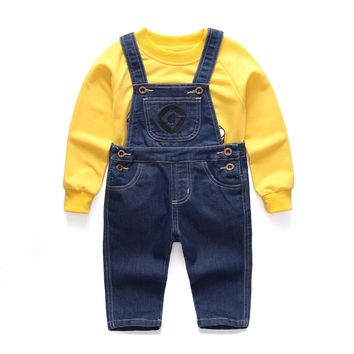 2018 Boys Clothing Fashion Suit Minions Kids Clothes Children's  Denim overalls jeans pants +Blouse Full Sleeve Twinset