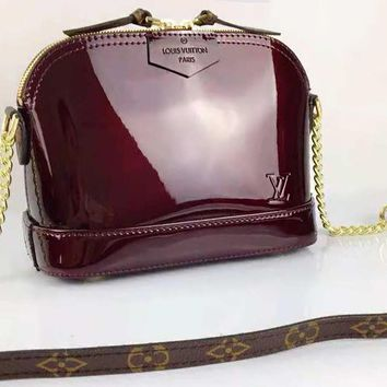 LV High Quality Fashion Women Leather Metal Chain Shoulder Bag Crossbody Satchel Burgundy