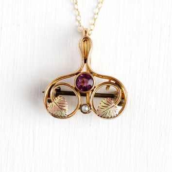 Art Nouveau Necklace - Antique 10k Rosy Yellow Gold Filled Watch Pin Conversion Pendant - Vintage 1910 Simulated Amethyst Seed Pearl Jewelry