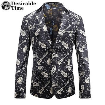 Men Velvet Printed Blazer and Suit Jacket Fashion Stage Costumes for Singers Casual Blazer
