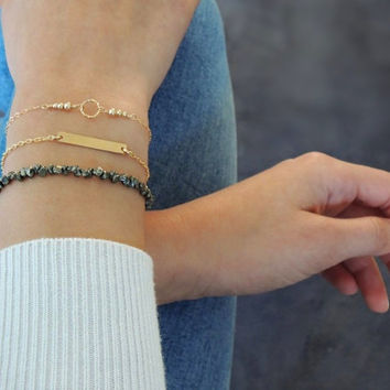 Gold Filled Bracelet Set, Set of 3 Bracelets, Pyrait Bracelet, Dainty Bar Bracelet, Minimal Ring and Beads Bracelet, Everyday Gold Bracelet