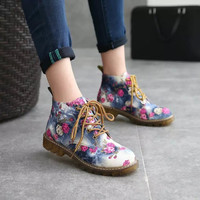 Casual Flower Printed Fashion Short Martin Boots