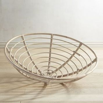 Papasan Whitewash Chair Bowl