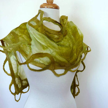 Olive Green Silk Scarf Silk and Wool Felted Scarves by sesenarts