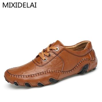 2017 Luxury Genuine Leather Flats Italian Mens Loafers Men Shoes Casual Fashion Slip On Driving Designer