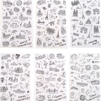 6 Sheets lot World-renowned Architecture Tour Pvc Transparent Stickers Flakes Decorative cute World Famous Buildings Diy Lable
