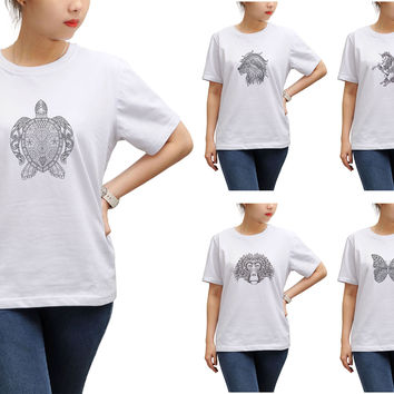 Women Animals drawing in black- white Printed T-shirt WTS_17