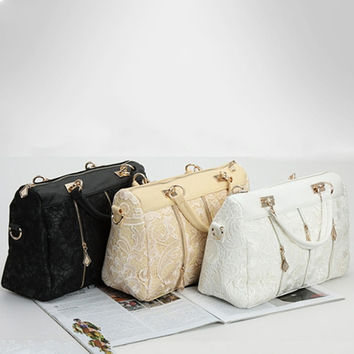 Elegant lace ladies bowling bag boston handbags famous designer brand bags women totes bag big high capacity casual package