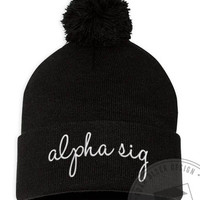 Alpha Sigma Alpha - Embroidered Pom Beanie - Order now to help us reach our goal!
