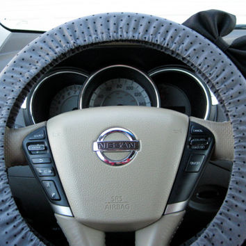 The Original Small Grey and Black Polka Dot Steering Wheel Cover with Matching Black Bow