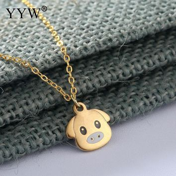 YYW Gold Sliver Color Stainless Steel Necklace Women Men Fashion Necklace Pendant Lovely Animal Pig Jewelry Gift 2017