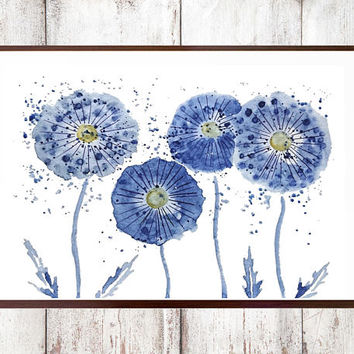 Abstract Watercolor Print Customize instant digital download  purple blue dandelion floral art  home decor wall art nature watercolor art