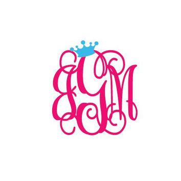"5"" Monogram Decal Interlocking Vines with Crown Vinyl Car Sticker"