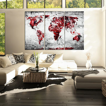 Canvas Print 3 Panel WORLD MAP - 3 Piece Atlas Canvas Art Print - Black and Red Map Ready to Hang - Vintage World Map