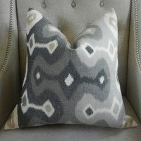 """Decorative Designer Lumbar Pillow Cover - 18""""X18"""" - Schumacher Darya Ikat in Stone - Pattern on the front"""