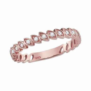 14kt Rose Gold Women's Round Diamond Ovals Stackable Band Ring 1-10 Cttw - FREE Shipping (US/CAN)