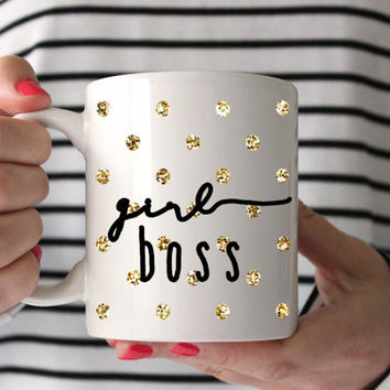 "Cute ""Girl Boss"" Coffee Mug - Tea cup - wedding gift - Shower gift - coffee cup - gift - birthday present - Office humor - office mug"