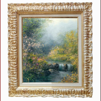 Italian painting quiet nature little waterfall original oil on canvas of Antonietta Varallo Italy - With frame ivory and gold