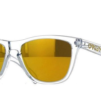 New Oakley OO9013 A4 Clear Frame Yellow Lens Square Plastic Sunglasses Fast Ship