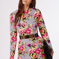 Missguided - Litzy Fitted Shift Dress Grey Floral