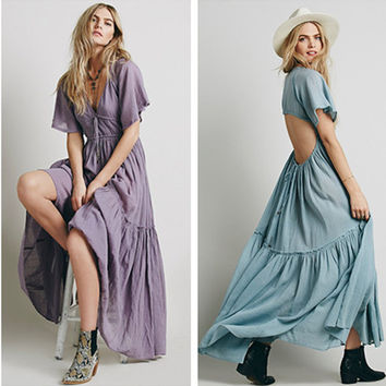 Fashion Casual Solid Color Backless V-Neck Short Sleeve Maxi Dress