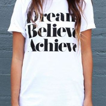 "White ""Dream Believe Achieve"" Print Casual Going out T-Shirt"