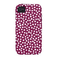 Maroon White Polka Dots Pattern Vibe iPhone 4 Cover from Zazzle.com