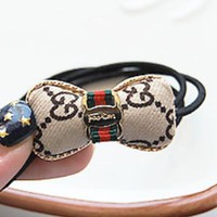 GUCCI love bow simple alloy headband rubber band hair headband Pure black stripe + bow