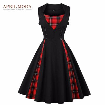 Plus Size Audrey Hepburn Dress Women Clothing Red Black Plaid Printed 4XL Sleeveless Summer 50s Vintage Rockabilly Swing Dresses