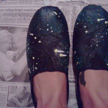 $40.00 New Glow in the Dark Galaxy Painted Shoes You by FortheloveofHarry