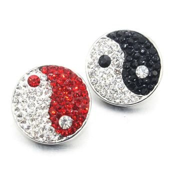 12 PCS Boom World Mix Snap Button Rhinestone 18mm Clay Snap Buttons Fit 18mm Snap Bracelets Women Taiji Button jewelry 020311