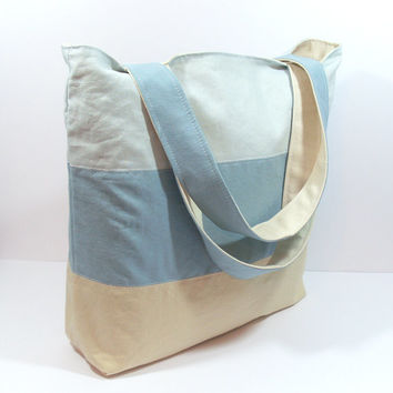 Blue Linen Bag, Linen Beach Bag, Blue Tote Bag, Blue Summer Bag, Summer Beach Bag, Blue Linen Tote, Summer Tote Bag, Gym Tote Bag, Pool Bag
