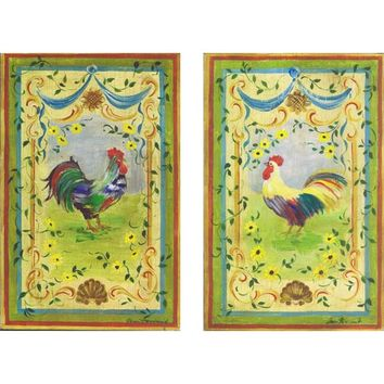 Stupell Industries wrp-798 set Twin Roosters on Colorful Yellow Background Oversized Kitchen Wall Decor