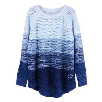 ZLYC Women Girl Fashion Gradient Color Stripe Loose Pullover Knit Sweater Jumper