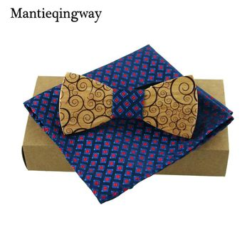 Hand crafted wooden bow tie set with stylish pocket square