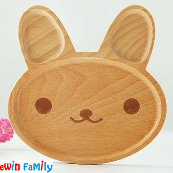 Kawaii Cartoon Rabbit Face Wood Dinner Plate Cute Animal Pattern Food Fruits Dish Wooden Service Plate Kid's Wood Dining Tray