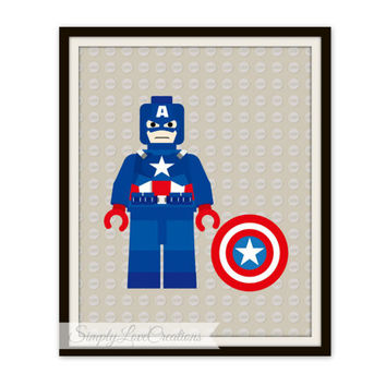 Lego Captain America Print, Superhero Pop Art, Instant Download, PRINTABLE 8x10, Kids Print, Nursery Print, Playroom, Comic Book